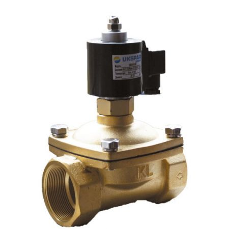 Solenoid valve normally closed  brass coupling, DN 40 / VITON / PN7