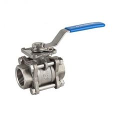 Ball valve threaded stainless three-component full bore GENEBRE, DN 20 / PTFE / PN63