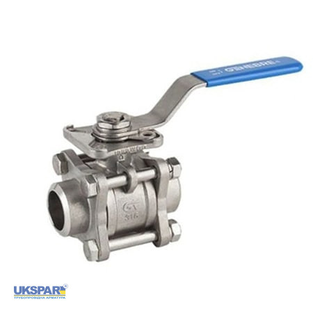 Ball valve welded stainless three-component full bore GENEBRE, DN 65 / PTFE / PN63