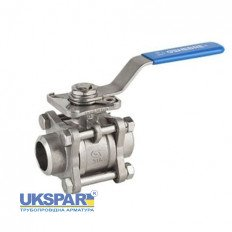 Ball valve welded stainless three-component full bore GENEBRE, DN 20 / PTFE / PN63