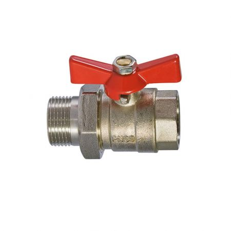 Ball coupling valve brass with  union nut, DN 25 / ball-brass / PTFE / PN25