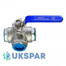 Кран кульовий L-подібний нержавіючий муфтовий, Ду 15 / куля-нж сталь 304 / PTFE / PN40
