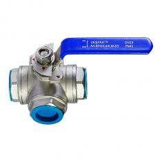 Ball valve L-shaped stainless steel coupling, DN 15 / ball-NJ steel 304 / PTFE / PN40