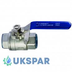Кран шаровой двухсоставной муфтовый нержавеющий, Ду 20 / шар-нж сталь 304 / PTFE / PN64