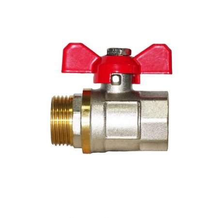 Brass threaded ball valve for water, butterfly, DN 32 / ball-brass/ PTFE / PN16