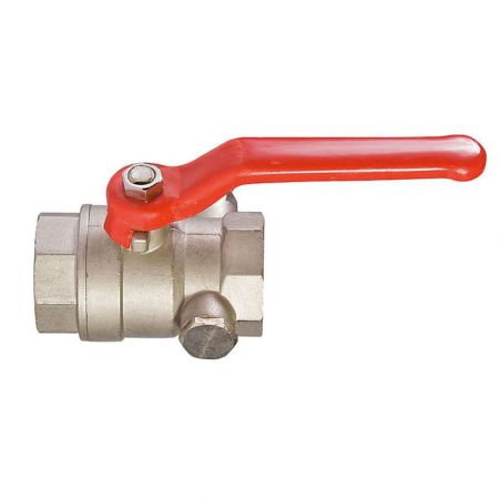 Brass ball coupling valve for water/air descent, DN 25 / ball-brass / PTFE / PN16