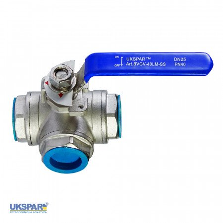 Ball valve L-shaped stainless steel coupling, DN 25 / ball-NJ steel 304 / PTFE / PN40