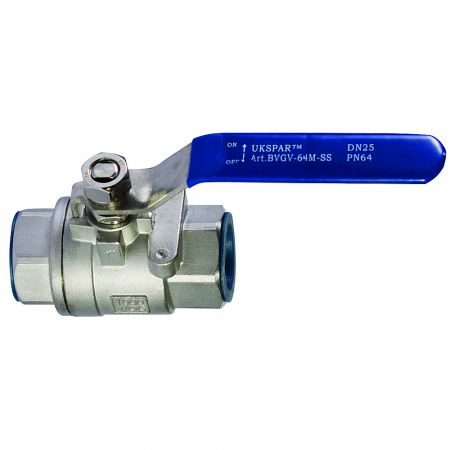 Ball valve double-joint coupling, stainless steel, DN100 / ball-NJ steel 304 / PTFE / PN64
