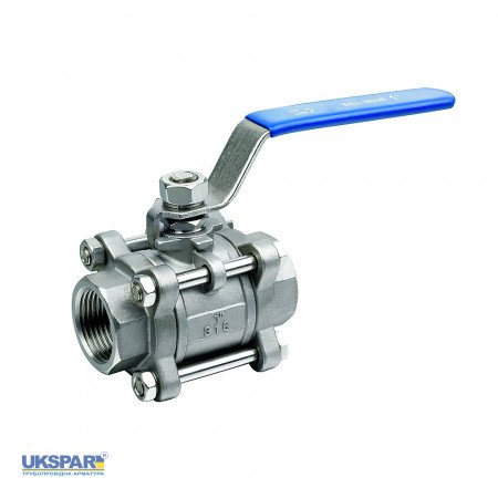 Ball valve three-component coupling / DN 32 / ball-NJ steel 304 / PTFE / PN40