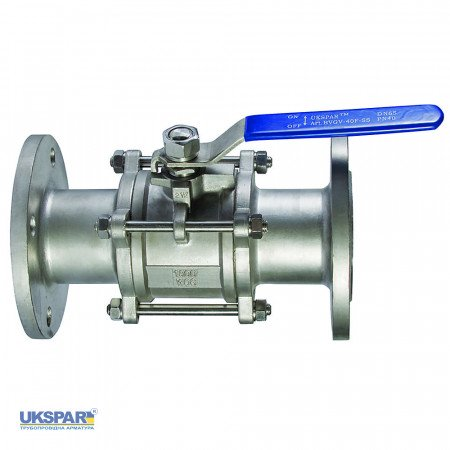 Ball valve three-component flange stainless with a platform, DN 25 / ball-NJ steel 304 / PTFE /PN40