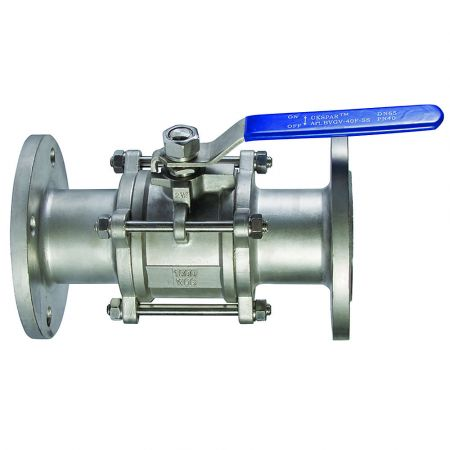 Ball valve three-component flange stainless with a platform, DN 32 / ball-NJ steel 304 / PTFE /PN40
