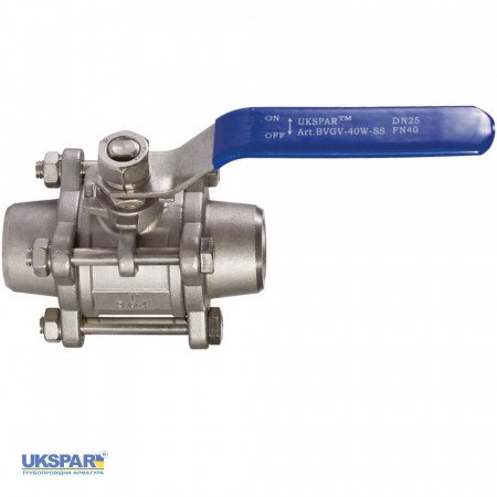 Ball valve three-component welded stainless, DN 80 / ball-NJ steel 304 / PTFE / PN40