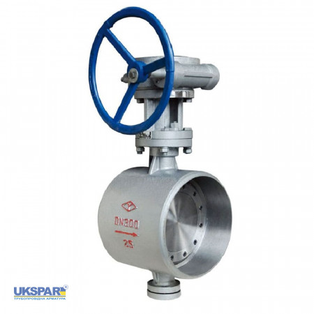 Rotary butterfly valve with eccentric disc  welded steel, DN 150 / disc-steel / stainless / PN16
