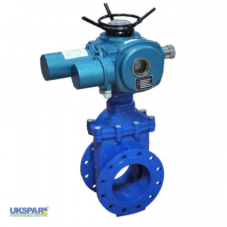 Wedge  gate valve with electric lead cast iron DN 150 / wedge-iron GGG50 + EPDM / PN16